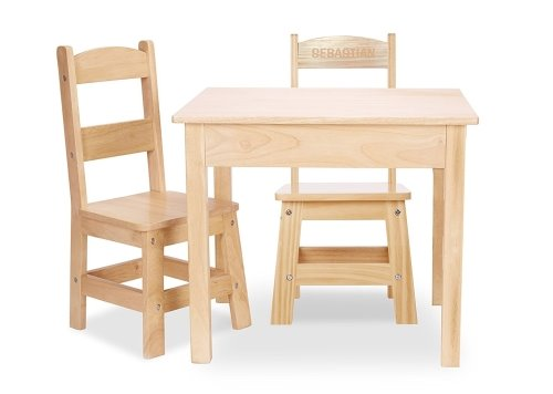 Melissa and Doug Personalized Solid Wood Table and 2 Chairs Set