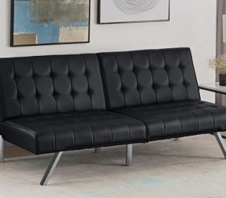 DHP Emily Futon Sofa Bed Modern Convertible Couch With Chrome Legs best futon
