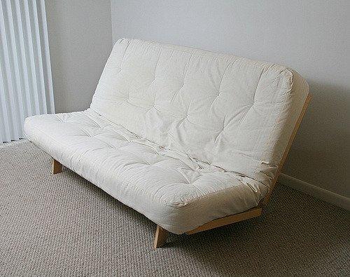 beige futon bed