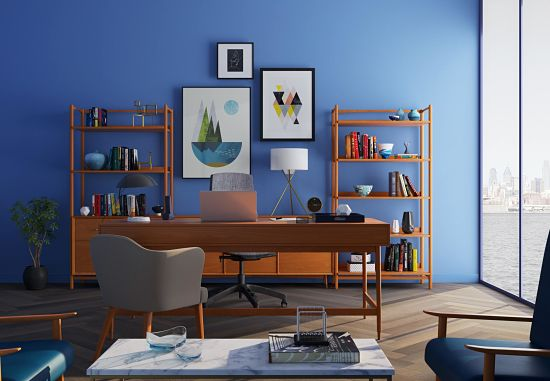 bookcase and desk in home office