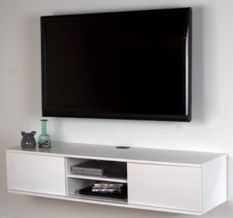 South Shore 9029676 Floating Wall Mounted Media Console, Pure White