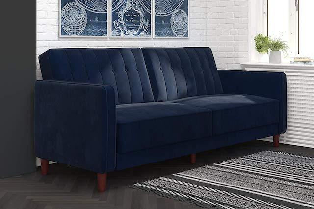 DHP Ivana Vintage Tufted Upholstered Futon Sofa Bed