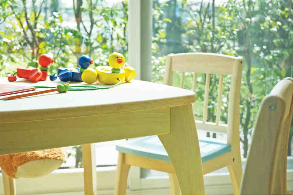 wooden or plastic table and chairs