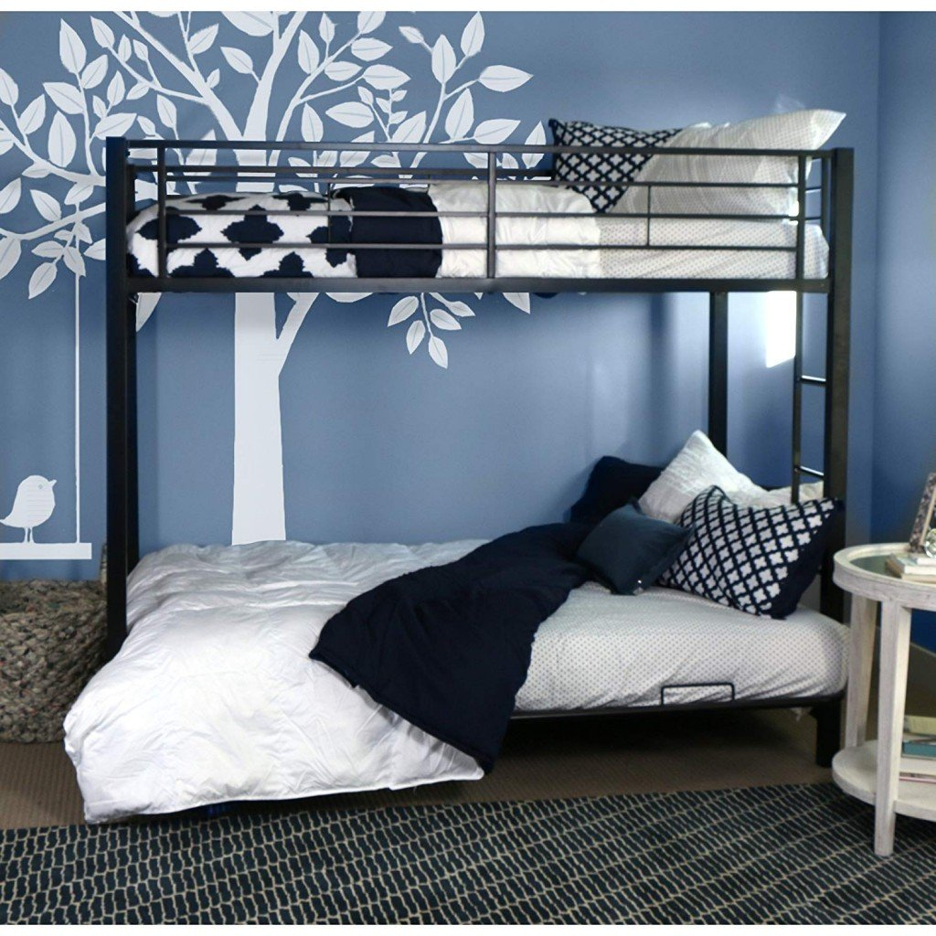 Sturdy Metal Twin-over-Futon Bunk Bed