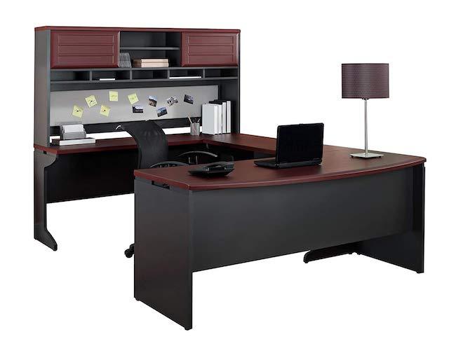 Ameriwood Home Pursuit U-Shaped Desk with Hutch Bundle