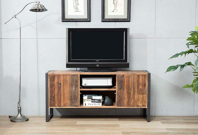 Belmont Home 60-inch Natural Wood Industrial TV Stand