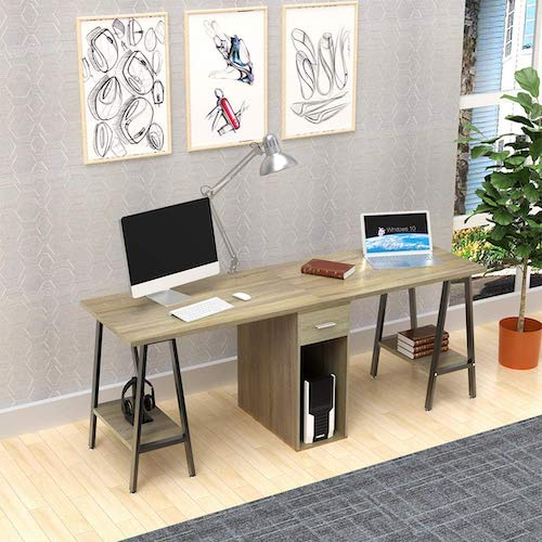 DEWEL Two Person Computer Desk with Drawers<br />