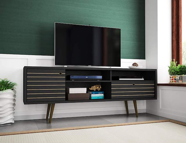 "Manhattan Comfort Liberty Collection Mid Century Modern TV Stand With Three Shelves Best 65"" TV Stand"