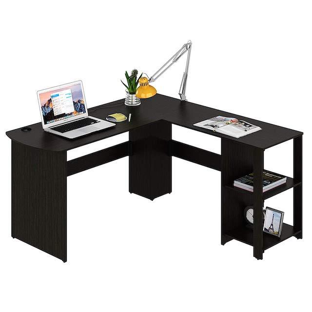 SHW L-Shaped Home Office Corner Desk Wood Top<br />