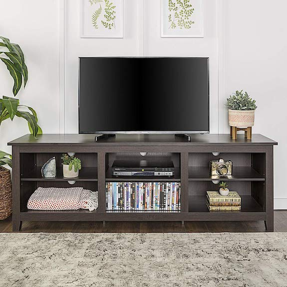 "WE Furniture 70"" Espresso Wood TV Stand Console Best 65"" TV Stand"